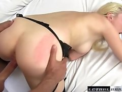 Horny Roxy Nicole wears moms lingerie and fucks hard dick
