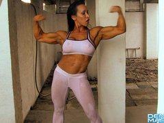Denise Masino - Wet White Yoga Pants - Female Bodybuilder