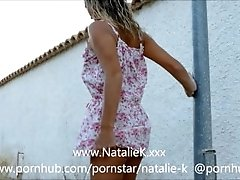 Outdoor flashing upskirt pee and fingerfucking with Natalie K
