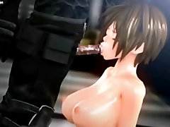 Sexy animated tasting hard phallus